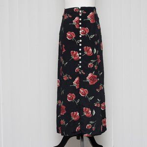 90s Style Floral Maxi Skirt with Button Front